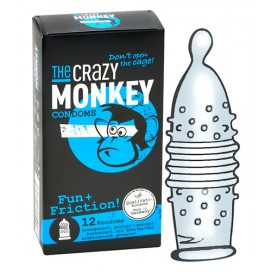 Crazy Monkey Condoms Préservatifs nervurés Fun + Friction x12
