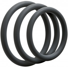 Optimale Lot de 3 Cockrings Fin 9mm Gris